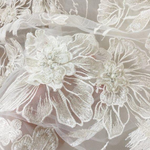 2019 Hot Sale Beautiful 3D Beaded Lace Fabric DIY