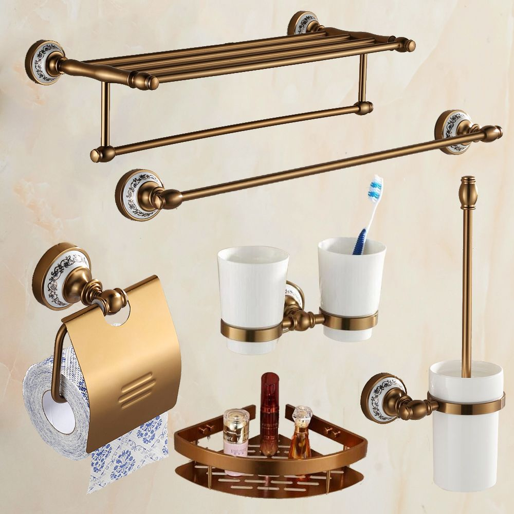 Antique Brass Brushed Aluminum Bathroom Hardware Set Wall Mounted