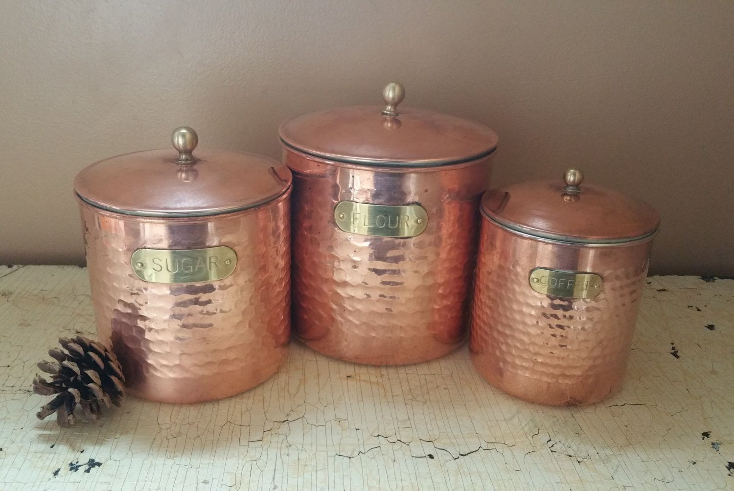 Copper Hand Hammered Canister Set Flour Sugar Coffee Canisters by GladStoneatHome on Etsy