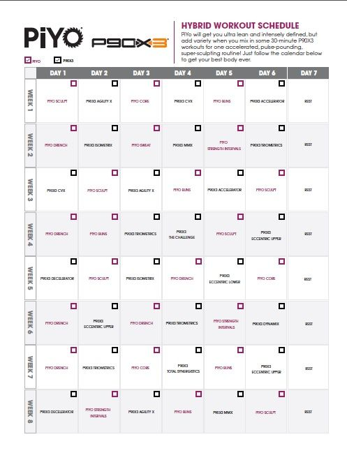 Piyo PX Workout Schedule  Workout Schedule Workout And Beachbody