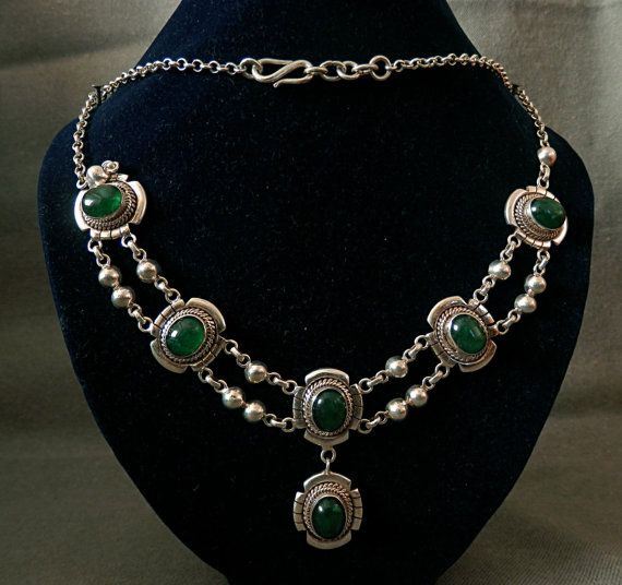 Wonderful 925 Sterling Silver Jade Gemstone Unique by PagodaCrafts