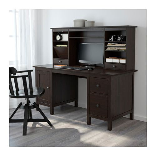 Hemnes Desk With Add On Unit Black Brown 61x53 7 8 Ikea Hemnes Ikea Hemnes Desk Desk