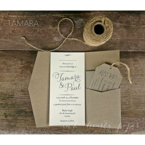 Recycled Paper Wedding Invitations: Rustic Vintage Backyard Calligraphy Script Pocket Fold