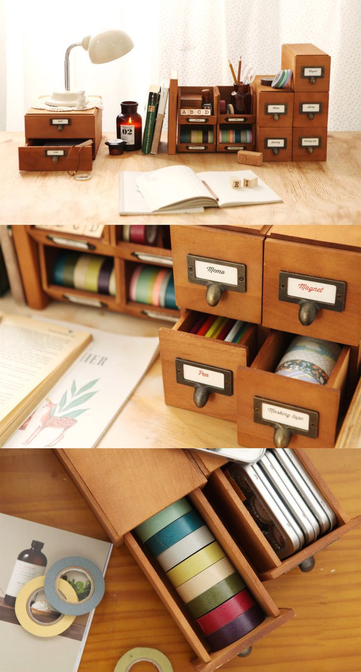 Ideas : How about these vintage wood drawers to bring together all your stationeries and craft supplies?