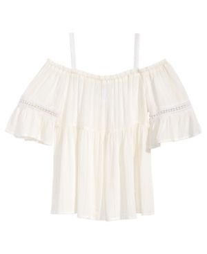 0d2d96c245af3e Kandy Kiss Big Girls Striped Off-The-Shoulder Peasant Top - White XL (14 16)