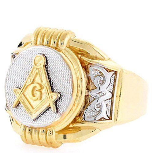 10k Two Tone Gold Freemason Masonic Round Mens Ring - Jewelry Liquidation Number: R0T2486XX0-1050 - Size 10.50...
