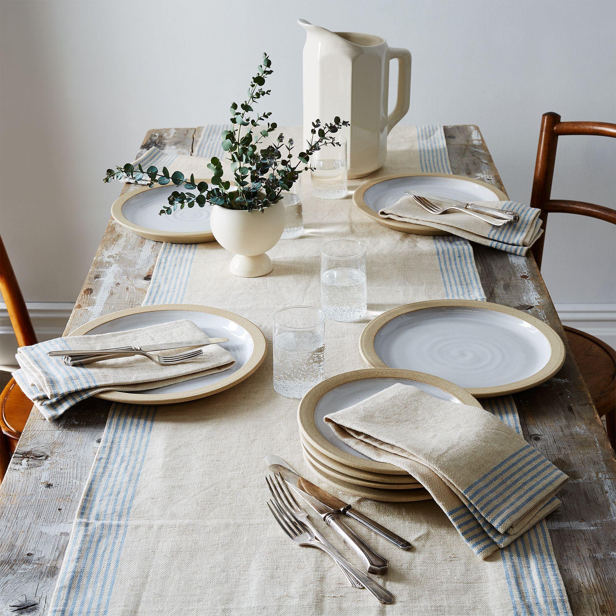 Agrarian Striped Linen Napkins Set Of 4 Linen Table Runner