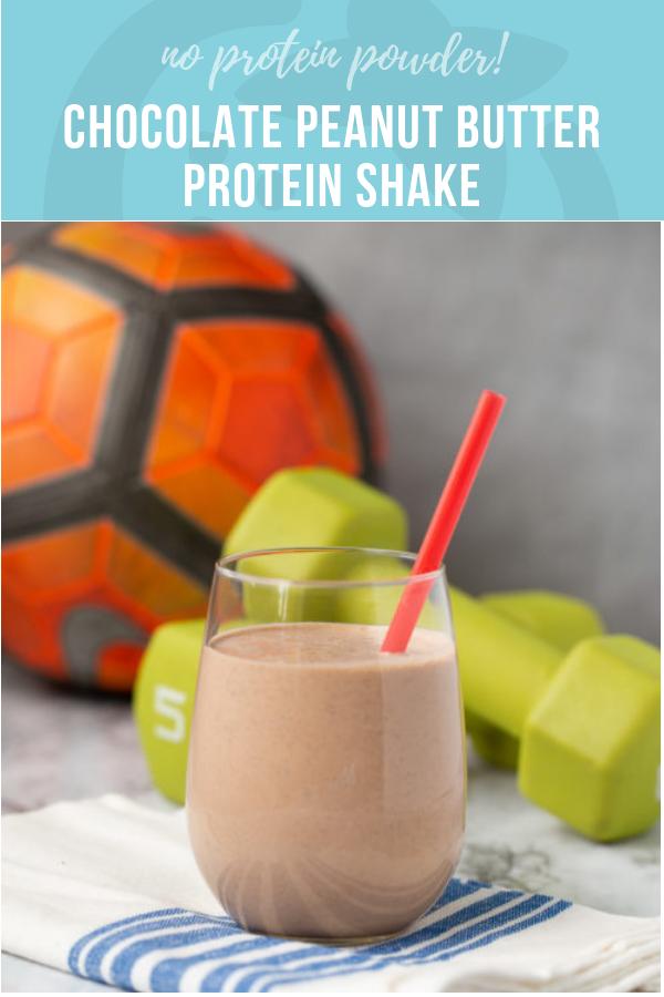 Chocolate Peanut Butter Protein Shake Recipe for Kids #healthychocolateshakes