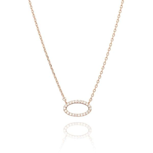 Astrid Miyu Tuxedo Oval Necklace Rose Gold 55 liked on