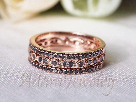 OMG Wannt New 14K Rose Gold Black Diamond Ring Set Milgrain by