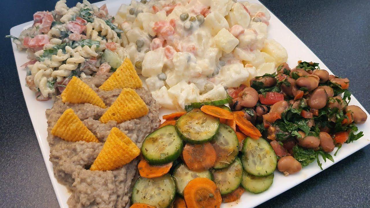 مقبلات سلطات المجموعه الثانيه سلطه روسيه متبل خيار سلطة فول سلطة معكرونه متبل باذنجان مقبلات عراقيه Youtube Food Salad Cobb Salad