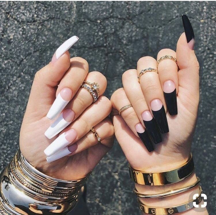 The Ying To My Yang White Acrylic Nails Gorgeous Nails Long Acrylic Nails