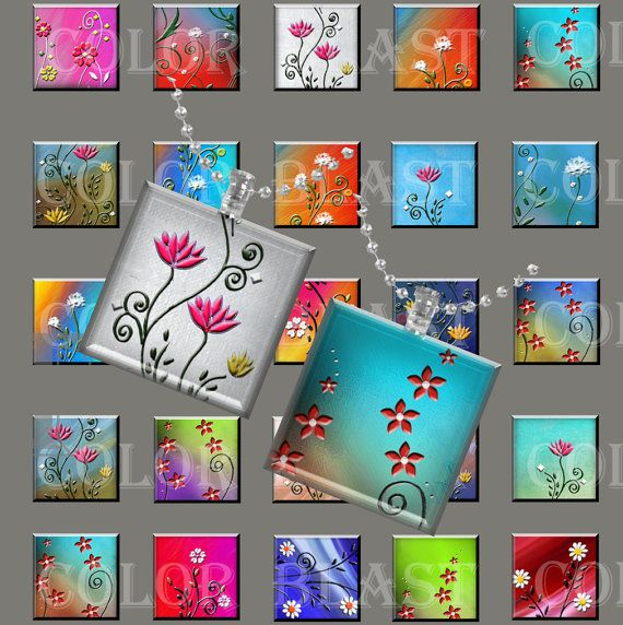 Abstract Flowers  INSTANT DOWNLOAD 1x1 inch by ColorBlastArt