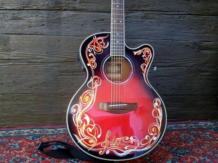 pinstriped guitar pinstriping guitar guitar art unique guitars. Black Bedroom Furniture Sets. Home Design Ideas