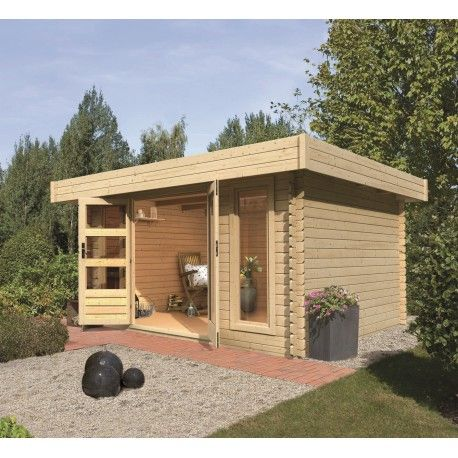 Abri de jardin toit plat 11,47m² en bois brut 28mm Aramir - Karibu ...