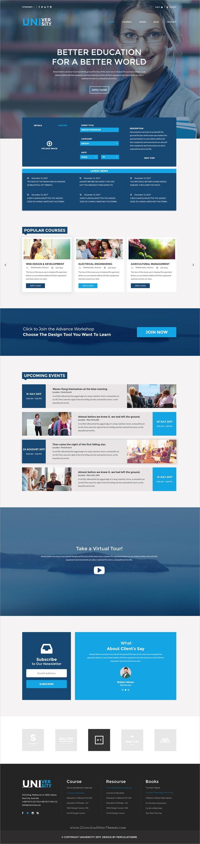 University Educational Psd Template Online Education Courses Online College Online Education