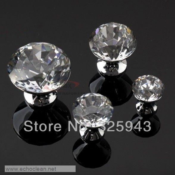 2pcs 20mm $23.05 Noble Modern K9 Crystal Door Knobs And Handles Chrome Glass Dresser Pulls Kitchen Cabinets