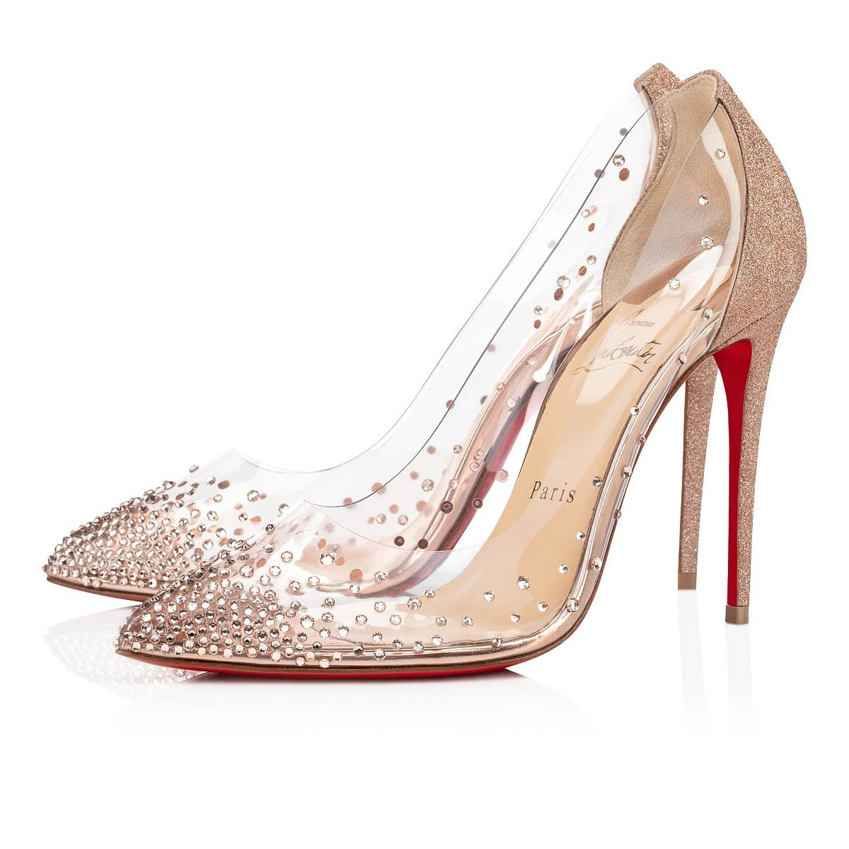 Christian Louboutin Nude Degrastrass Pvc 100 4 Brown Clear