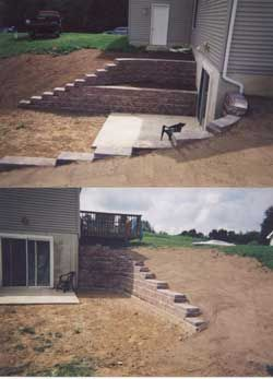 Retaining wall for downstairs basement door area for Walkout basement retaining walls