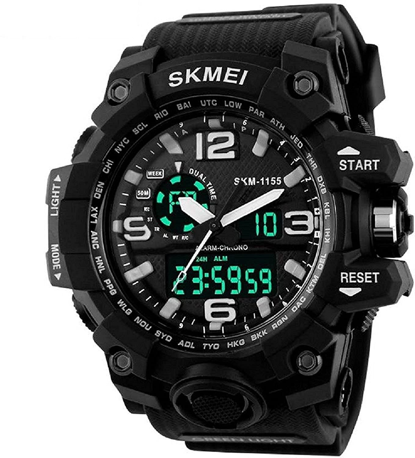 Skmei Analog Digital Quartz Men S Watch With Silicone Strap In 2020 Military Watches Best Watches For Men Stylish Watches Men