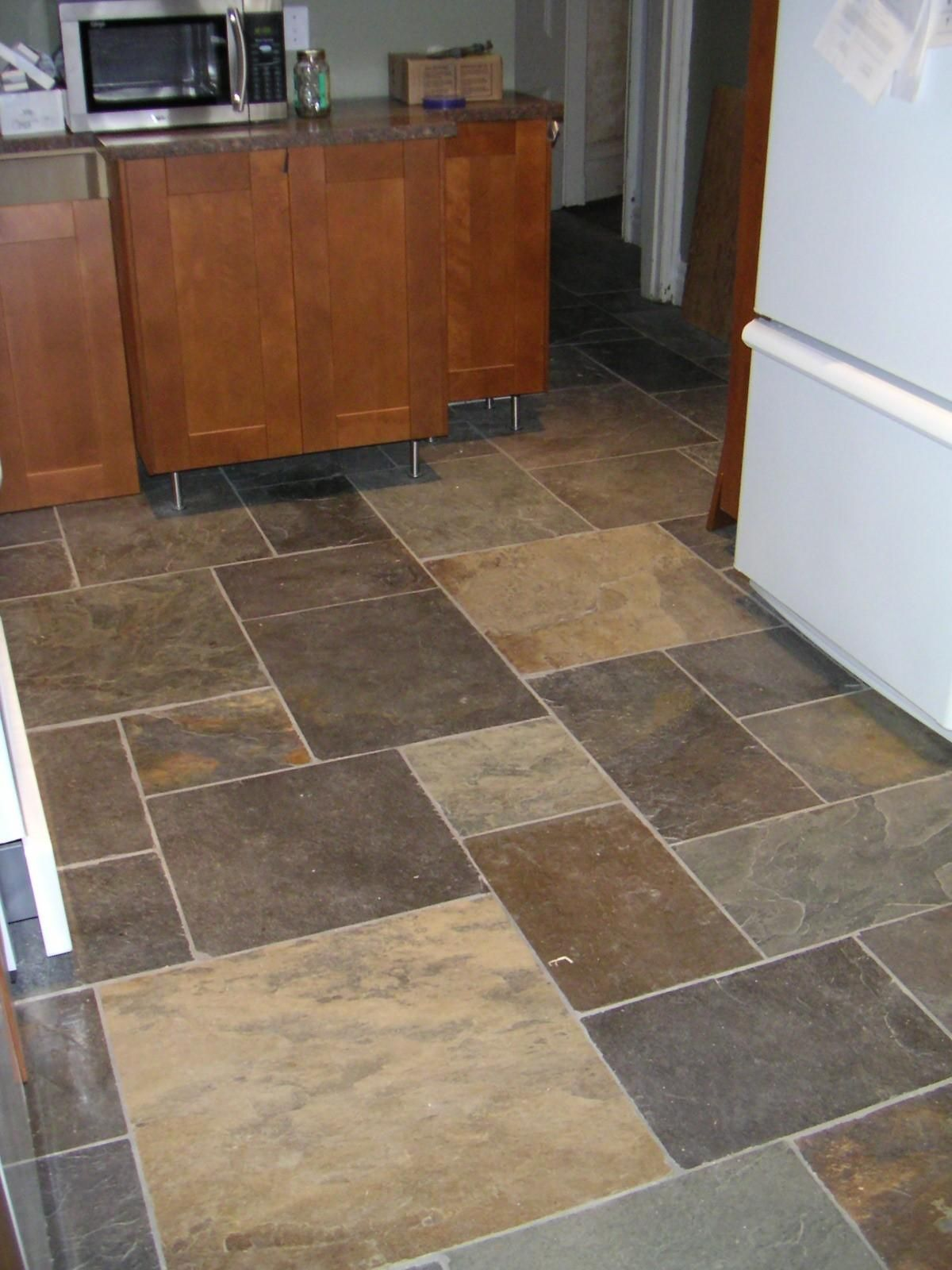 Marvelous Cheap Kitchen Flooring Ideas Part - 6: Kitchen, Stunning Stone Kitchen Flooring Options Which Implemented Next To  Brown WOoden Vanity ~