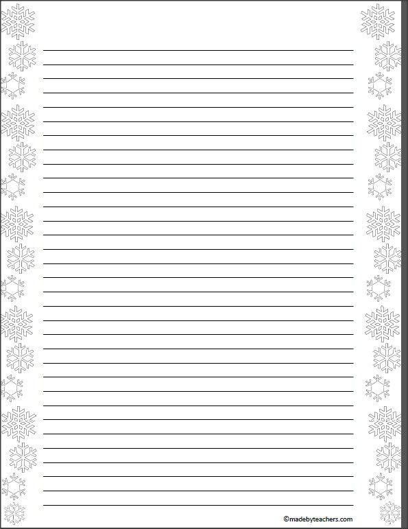 This free download includes 2 pages of snowflake writing paper - paper lined