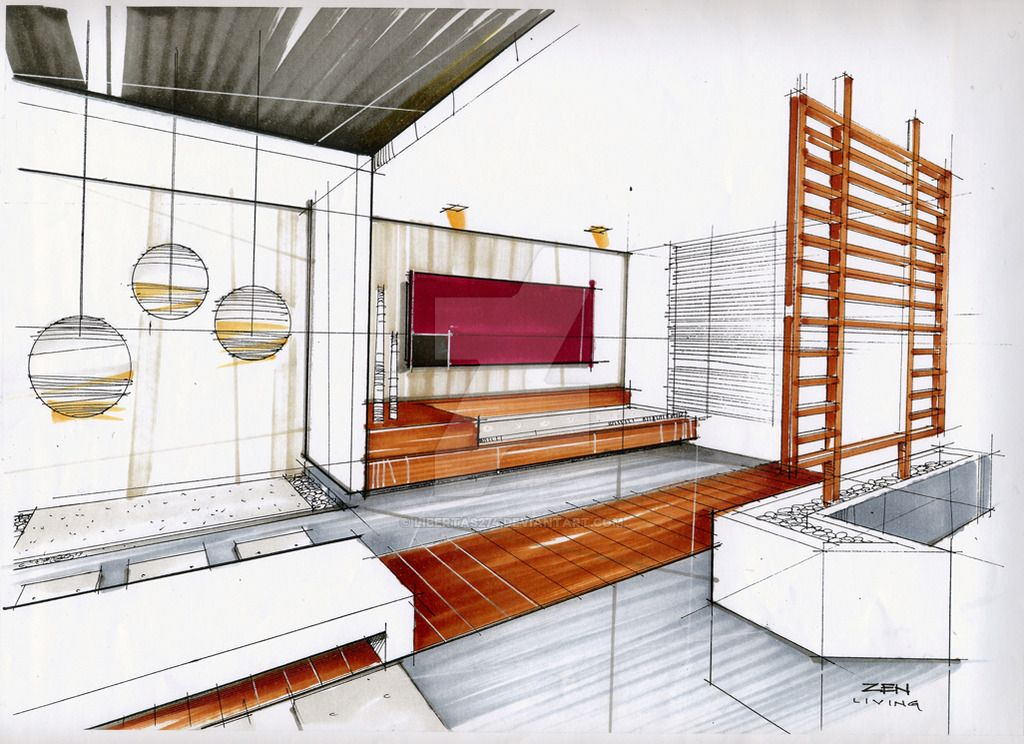 Interior Design Color Sketches 36 sketch painting light room/ resort | rendering | pinterest