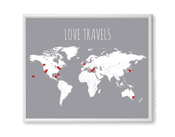 World travel map diy kit includes red heart stickers traveler world travel map diy kit includes red heart stickers traveler gift wall map poster grey 11x14 print blank world map with countries pinterest travel gumiabroncs Gallery