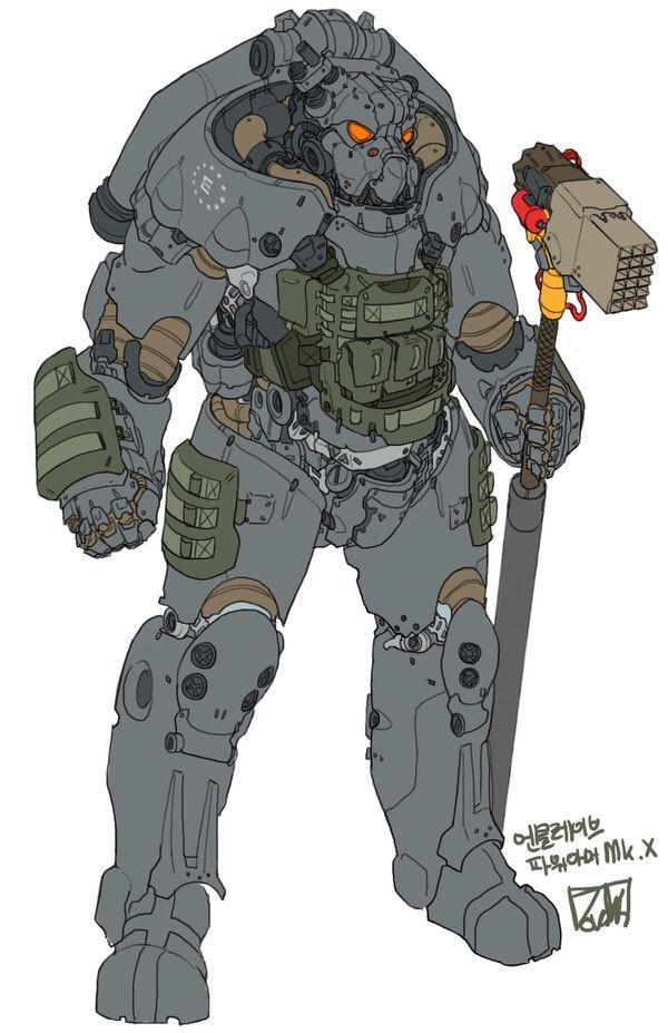 XO1 Power Armor | Fallout | Fallout 4 concept art, Fallout art, Fallout power armor