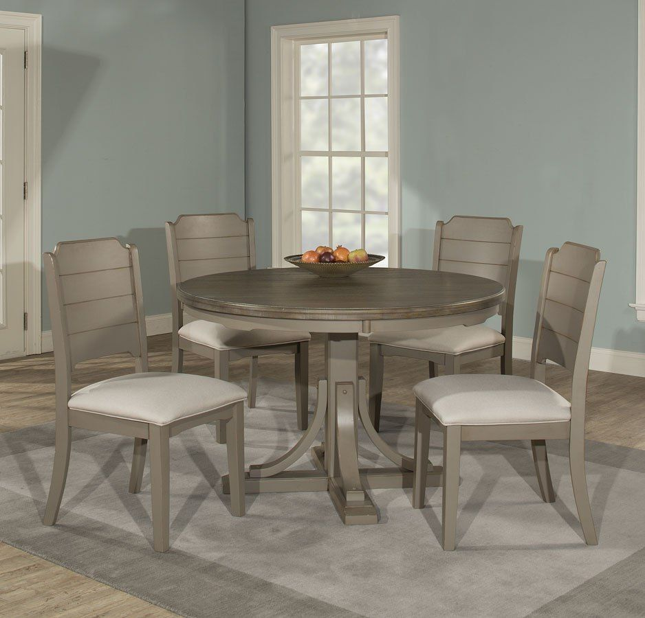 Clarion Round Dining Room Set Distressed Gray Round Dining Room Sets Solid Wood Dining Set Round Dining Set