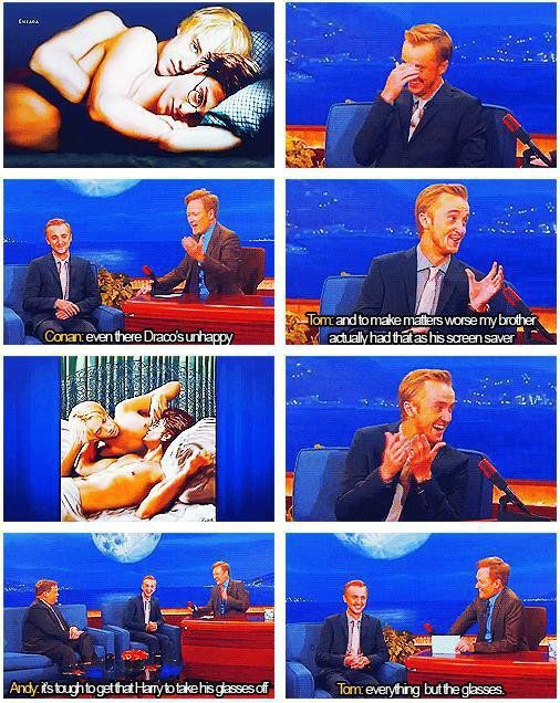 Tom Felton reaction to Drarry fanart