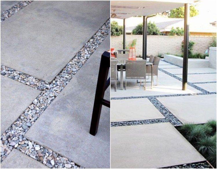 Zierkies als Lückenfüllen zwischen Betonplatten Garten