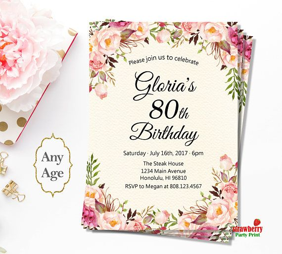 80th Birthday Invitations For Women Pink Floral Birthday
