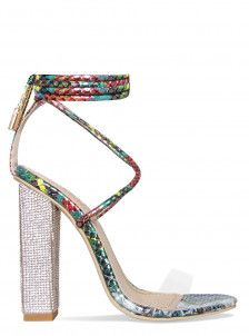 Karla Turquoise Multi Snake Clear Lace Up Diamante Heels