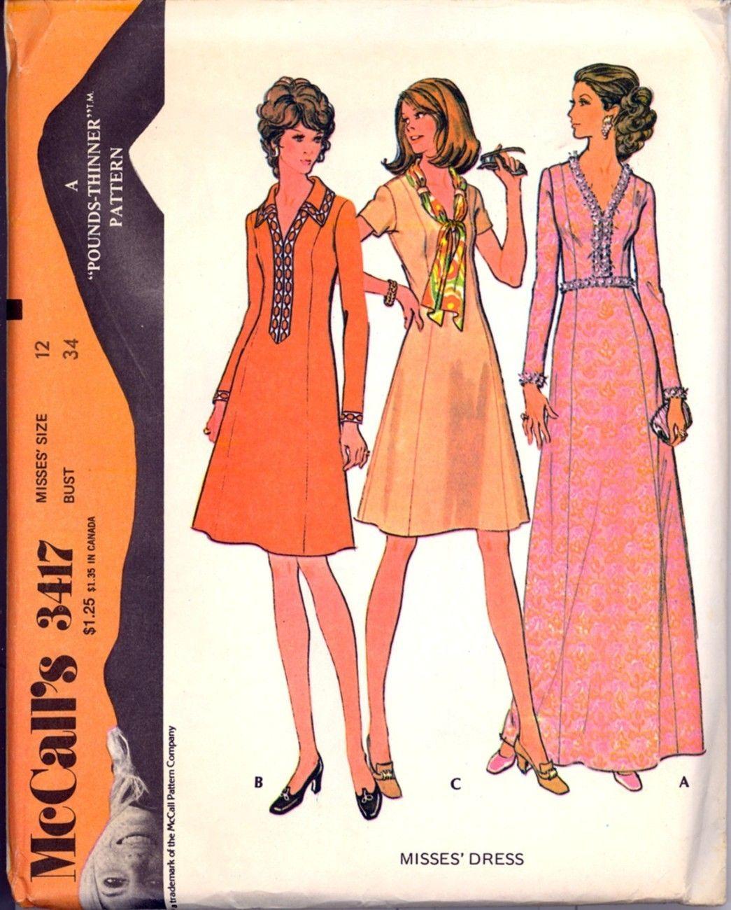 Uncut 1970s Size 12 Bust 34 Princess Dress Maxi McCalls