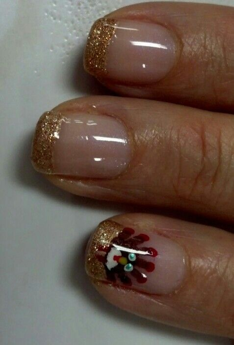 thanksgiving nail art with shellac