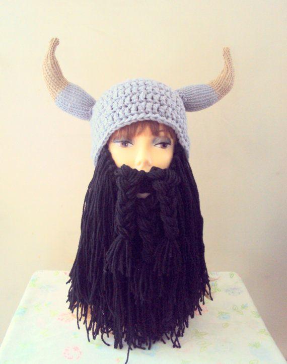 3c6c5e5124b Viking Hat Long Beard Hat Beard Beanie Knit Viking Hat with Big Horns Black Beard  Hat Men Women Winter Accessories Gift Ideas by GrahamsBazaar