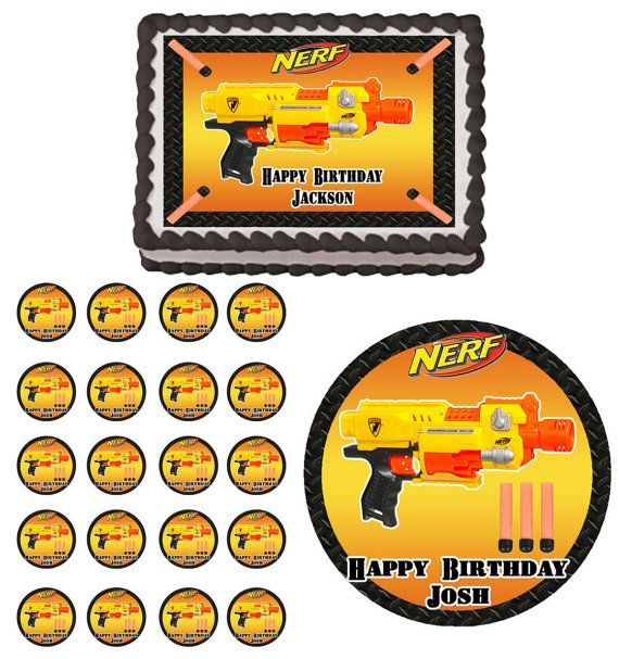 Nerf War Gun Edible Birthday Party  Cake & Cupcake Topper Decoration Icing Sheet
