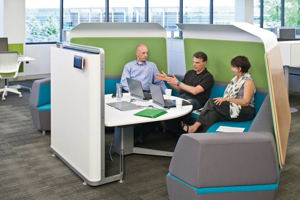 Here is a great little privacy collaboration pod for the contemporary office.  Conference, meeting area or just a place brainstorm a little or possibly teleconference.  www.ofw.com/pinterest