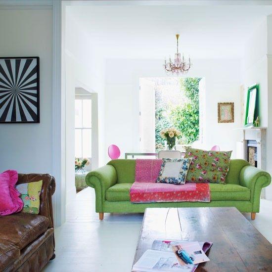Wohnideen Wohnzimmer-weiß grün Landhaus modern Deko Einrichtung