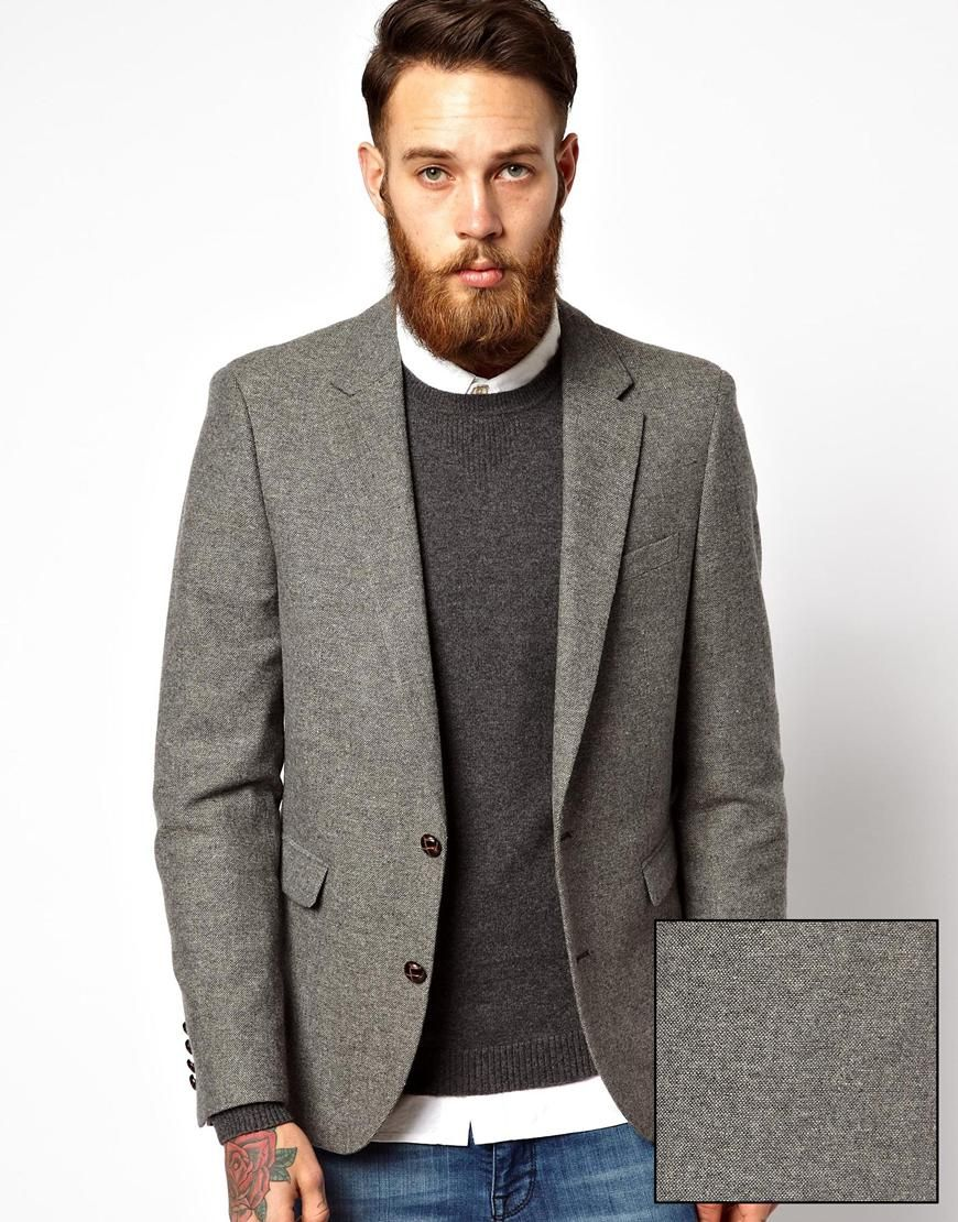 ASOS Slim Fit Grey Blazer in Tweed - $145.00 | I want.... Jackets ...