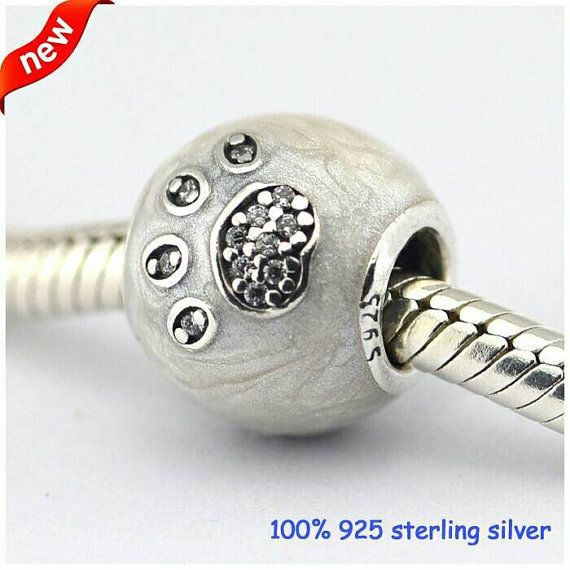 104d2f61a I love my dog paw print charm. New unboxed for Pandora Bracelet. S925 100%  genuine sterling silver