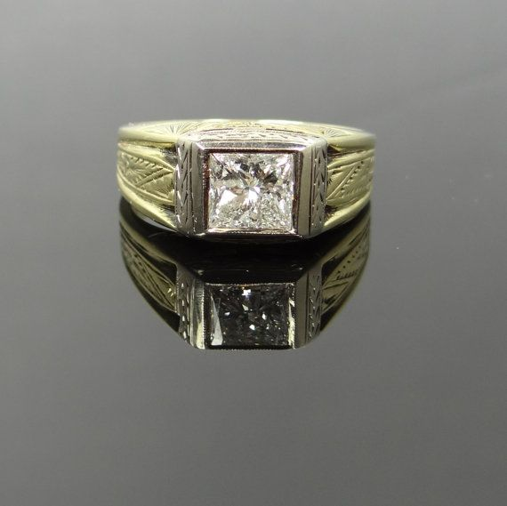 Stately Art Deco Engraved Two Tone Mens Diamond Ring - QU1K6C-P