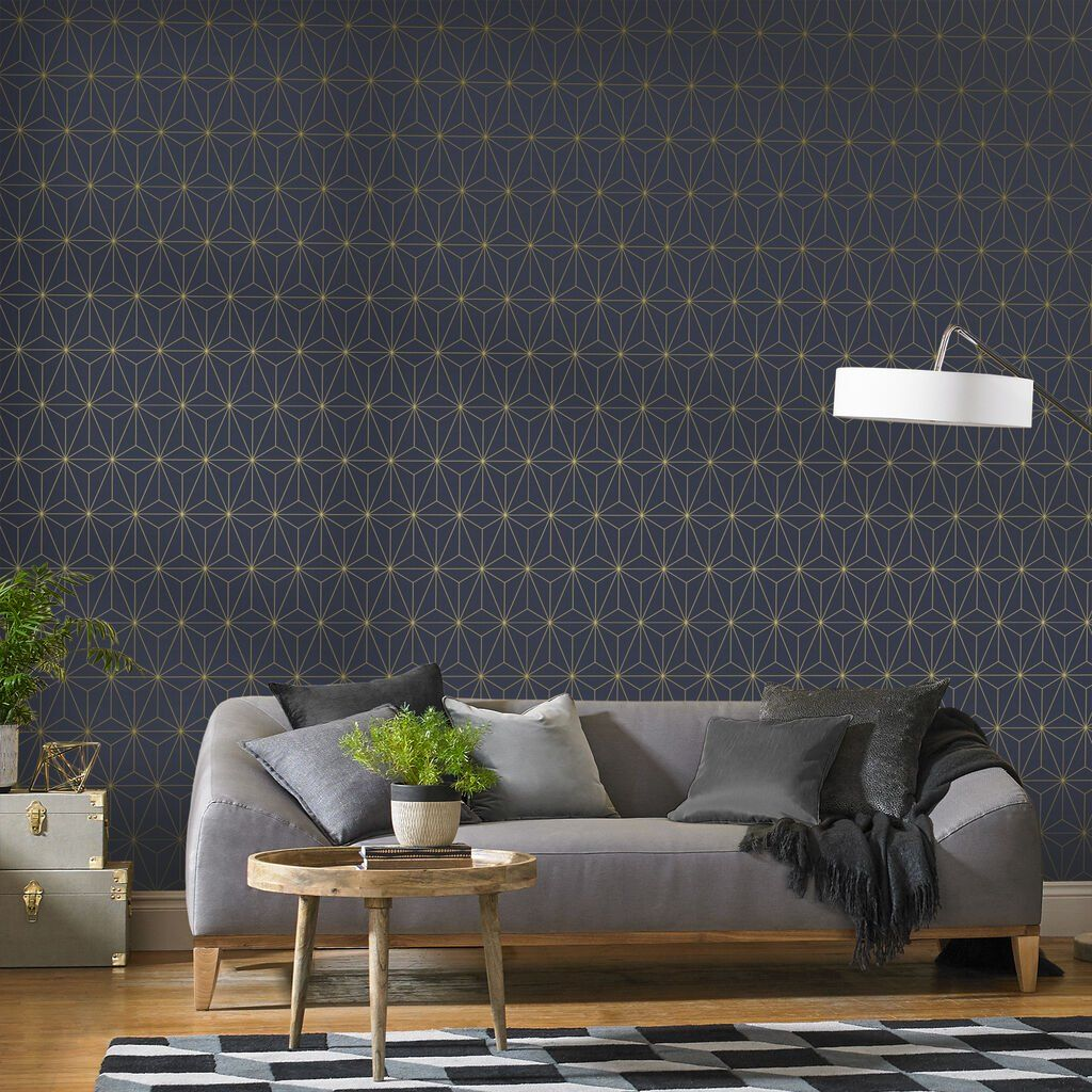 Graham Brown Prism Navy Gold Wallpaper In 2020