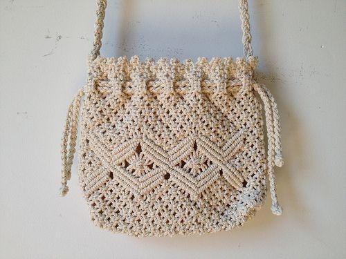 80s Macrame Drawstring Bag #macrame