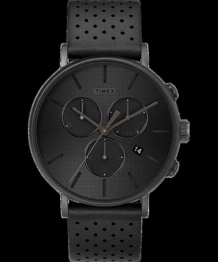 ffdef69f001f  119.00 Fairfield Chronograph Supernova™ 41mm Leather Strap Watch - Timex  US Black Black TW2R79800VQ 👍BLACK