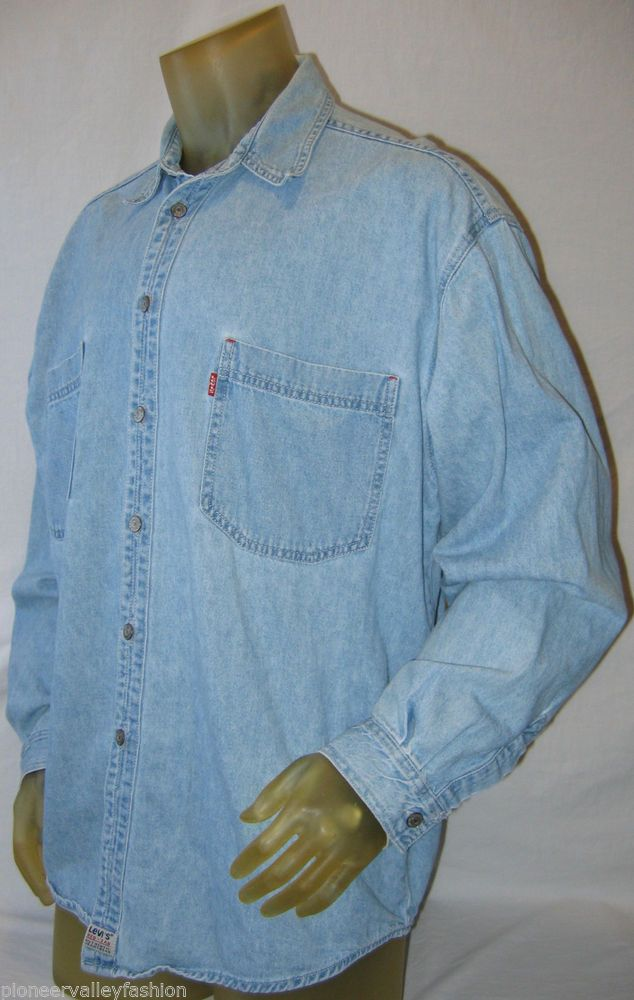 9079d5e8 #LEVI'S #Denim Shirt Mens #RedTab Metal Buttons Long Sleeve Button Down  #Blue #XL Here's a great denim shirt available at my #eBay store: # ...