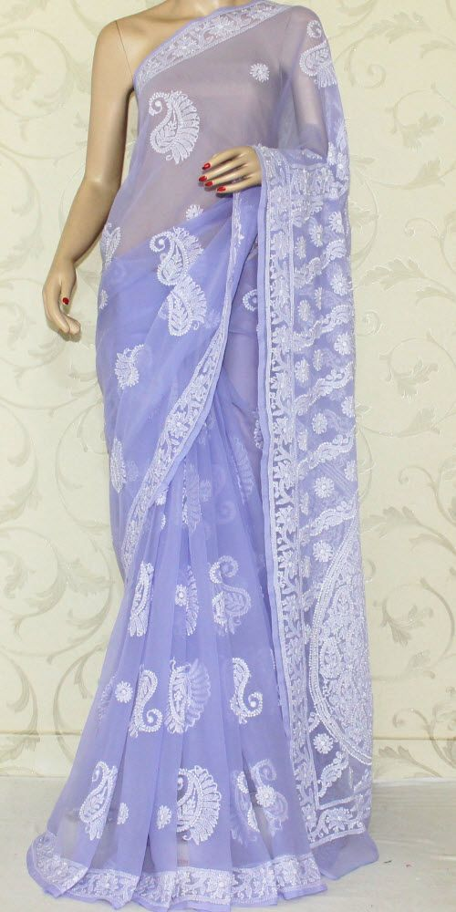 Lucknowi Chikan Saree W B Georgette 12907 Indian