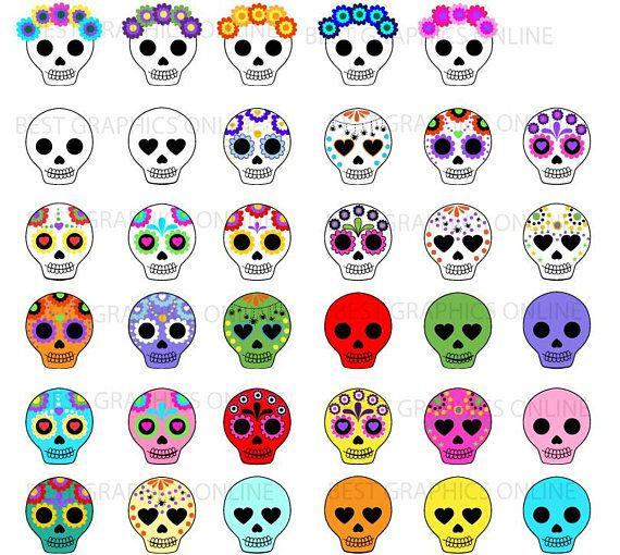 Halloween Clipart Clip Art Day Of The Dead Clipart Clip Art Sugar Skull Clipart Dia De Los Muertos Clipart Skull Clipart Ll8 Arte De Calavera De Alfenique Calavera De Papel Y
