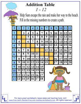 addition table worksheets  math maze  worksheets addition  addition table worksheets